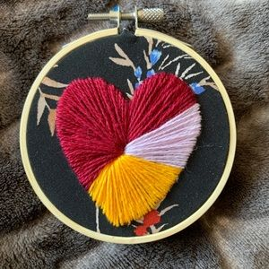 Color Block Heart Embroidery